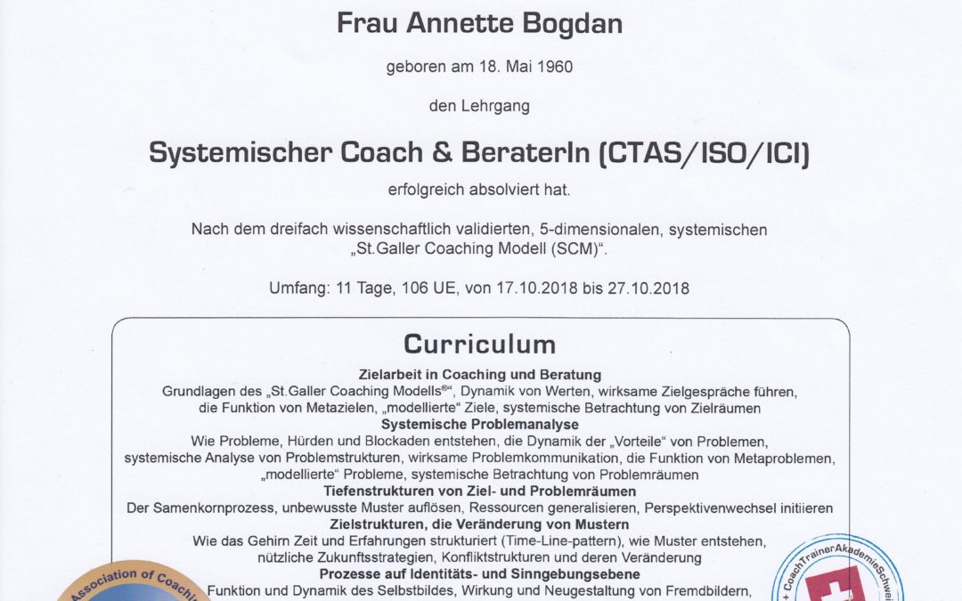 Systemischer Coach & BeraterIn (CTAS/ISO/ICI) Annette Bogdan
